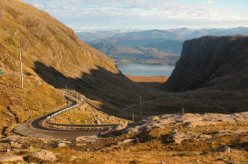 The Bealach na Ba, the Pass of the Cattle, the highest road in Britain which climbs from sea level to 2,053 feet.