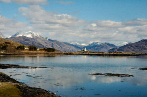 A snow-covered Beinn Sgritheall as seen from Isleornsay on the Sleat peninsula, Isle of Skye.